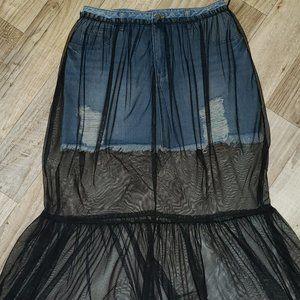 Forever 21 Denim/Jean Mini Skirt With Mesh